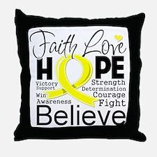 Faith Hope Sarcoma Cancer Throw Pillow