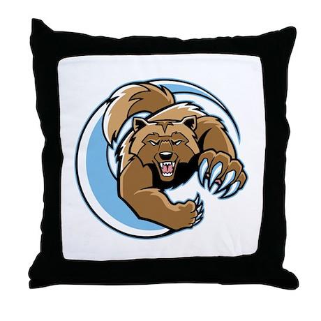 Wolverine Mascot Throw Pillow