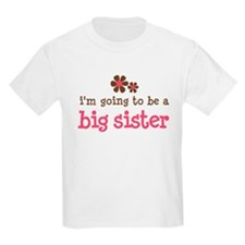 big sister pink brown flower T-Shirt