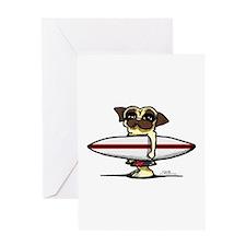 Surfer Pug Greeting Card