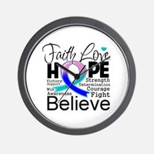 Faith Hope Thyroid Cancer Wall Clock