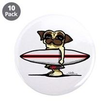 "Surfer Pug 3.5"" Button (10 pack)"
