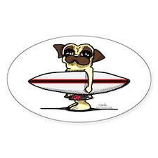 Surfer Pug Stickers