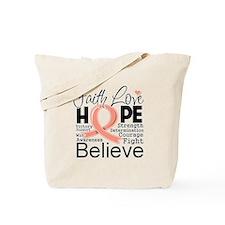Faith Hope Uterine Cancer Tote Bag