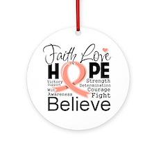 Faith Hope Uterine Cancer Ornament (Round)