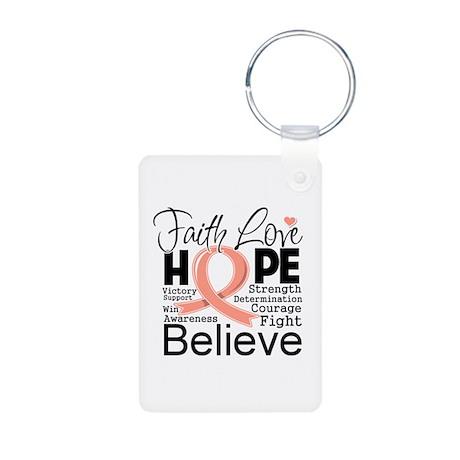Faith Hope Uterine Cancer Aluminum Photo Keychain