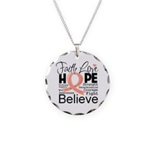 Faith Hope Uterine Cancer Necklace Circle Charm