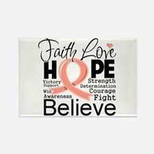 Faith Hope Uterine Cancer Rectangle Magnet