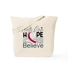 Faith Hope Throat Cancer Tote Bag