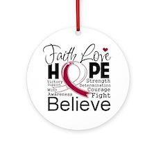 Faith Hope Throat Cancer Ornament (Round)