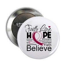 "Faith Hope Throat Cancer 2.25"" Button (10 pack)"