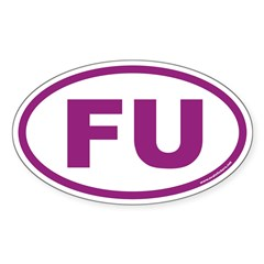 FU Euro Oval Sticker in Purple