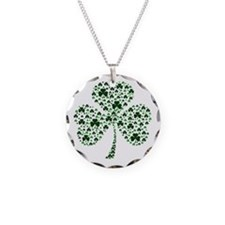 Irish Shamrocks Necklace Circle Charm