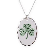 Irish Shamrocks Necklace Oval Charm