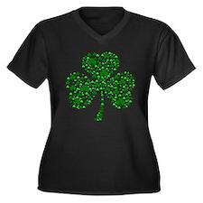 Irish Shamrocks Women's Plus Size V-Neck Dark T-Sh