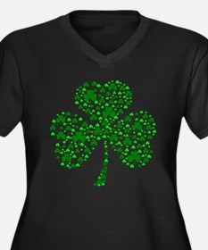 Irish Shamrocks Women's Plus Size V-Neck Dark T-Sh