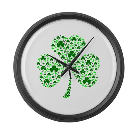 Irish Shamrocks Large Wall Clock