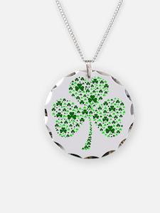 Irish Shamrocks Necklace Circle Charm