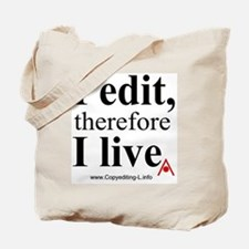 """I edit, therefore I live"" CE-Lery tote bag"