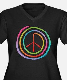 Neon Spiral Peace Sign II Women's Plus Size V-Neck