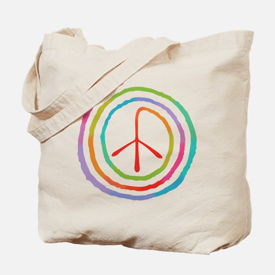 Neon Spiral Peace Sign II Tote Bag