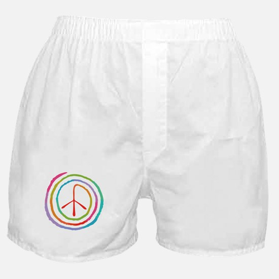 Neon Spiral Peace Sign II Boxer Shorts