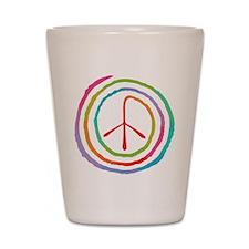Neon Spiral Peace Sign II Shot Glass