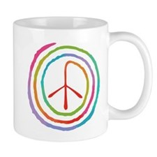 Neon Spiral Peace Sign II Small Mug