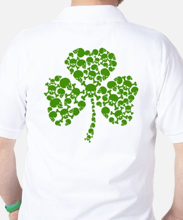 Shamrock Skulls St Pattys Day Golf Shirt