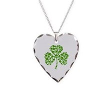Shamrock Skulls St Pattys Day Necklace Heart Charm