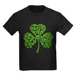 Shamrock Skulls St Pattys Day Kids Dark T-Shirt