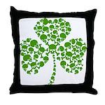 Shamrock Skulls St Pattys Day Throw Pillow