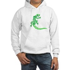 Lizard, Green Tribal Design, Hoodie