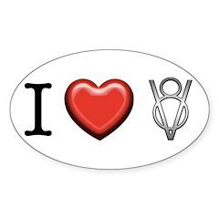 I love V8 Sticker (Oval)