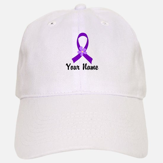 Personalized Purple Ribbon Daisy Baseball Baseball Cap