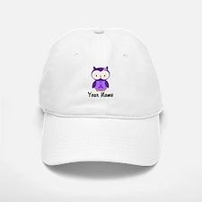 Personalized Purple Ribbon Owl Baseball Baseball Cap