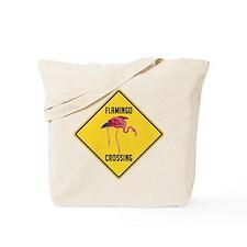 Flamingo Crossing Sign Tote Bag