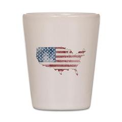 Vintage USA Flag / Map Shot Glass