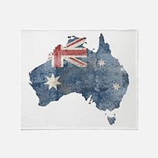 Vintage Australia Flag / Map Throw Blanket