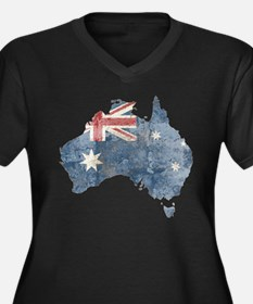 Vintage Australia Flag / Map Women's Plus Size V-N