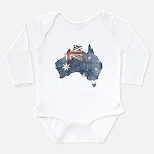 Vintage Australia Flag / Map Long Sleeve Infant Bo