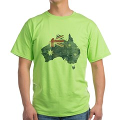 Vintage Australia Flag / Map Green T-Shirt