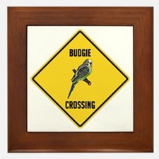Budgie Crossing Sign Framed Tile