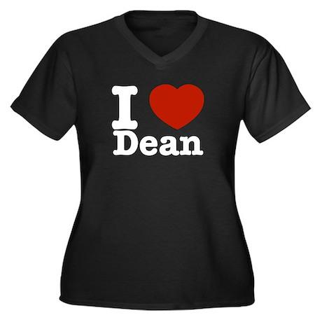 I love Dean Women's Plus Size V-Neck Dark T-Shirt