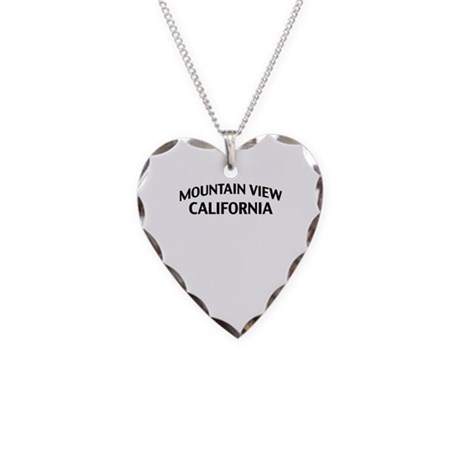 Mountain View California Necklace Heart Charm