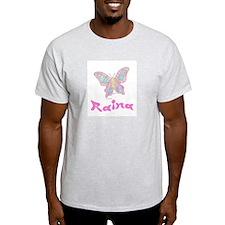 Pink Butterfly Raina Ash Grey T-Shirt