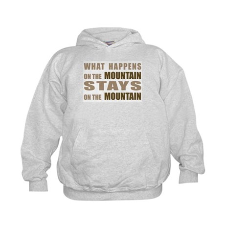 What Happens On The Mountain. Kids Hoodie