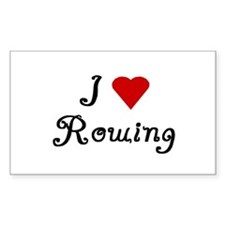 I *HEart* Rowing Rectangle Decal