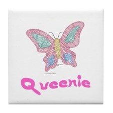 Pink Butterfly Queenie Tile Coaster