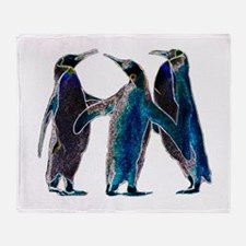 Neon Penguins Throw Blanket